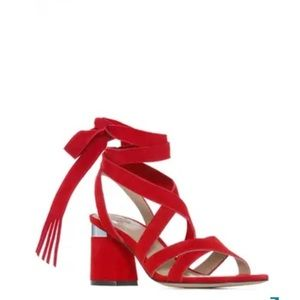 PAIGE suede lace up sandals firecracker red silver